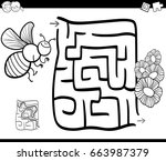 black and white cartoon... | Shutterstock . vector #663987379