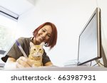 Stock photo veterinarian doctor is making a check up of a cute beautiful cat veterinary concept 663987931