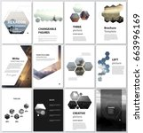 The vector illustration of the editable layout of A4 format covers design templates for brochure, magazine, flyer, booklet, report. Abstract polygonal modern style with hexagons. | Shutterstock vector #663996169