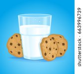 realistic glass with milk and... | Shutterstock . vector #663996739