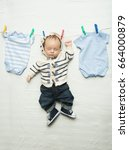 funny photo of cute baby boy... | Shutterstock . vector #664000879