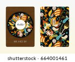 cover design with floral... | Shutterstock .eps vector #664001461