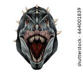 the dinosaur head is... | Shutterstock .eps vector #664001839