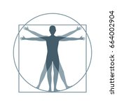 cartoon silhouette vitruvian... | Shutterstock . vector #664002904