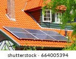 solar panels  renewable sun... | Shutterstock . vector #664005394