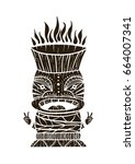 wood polynesian tiki idol  god... | Shutterstock .eps vector #664007341