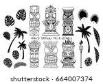 wood polynesian tiki idols ... | Shutterstock .eps vector #664007374