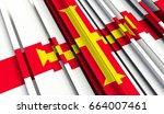 fragment flag of guernsey. 3d... | Shutterstock . vector #664007461