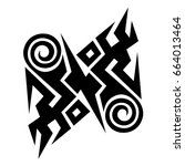 tattoo art tribal vector design.... | Shutterstock .eps vector #664013464