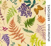 autumn floral seamless pattern. ... | Shutterstock .eps vector #664014241