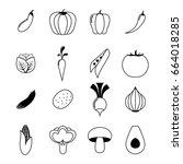 vegetables line icons set | Shutterstock .eps vector #664018285