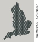 england map with stars and... | Shutterstock . vector #664020307