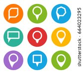 map point pointer pin white... | Shutterstock . vector #664023295