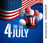 fourth of july. independence... | Shutterstock .eps vector #664023439