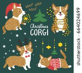 vector set of cute corgi dogs... | Shutterstock .eps vector #664024699
