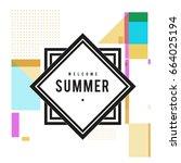 trendy vector summer cards... | Shutterstock .eps vector #664025194