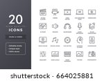 music and video icons. vector... | Shutterstock .eps vector #664025881