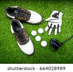 ball  shoe  glove  tee and golf ... | Shutterstock . vector #664028989