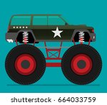 off road car isolated on color... | Shutterstock .eps vector #664033759