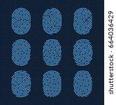 vector fingerprint icons set ... | Shutterstock .eps vector #664036429
