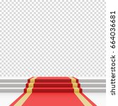 red carpet on stairs. empty... | Shutterstock .eps vector #664036681