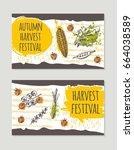 autumn harvest festival...   Shutterstock .eps vector #664038589