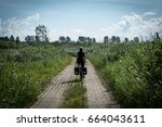 a girl riding bicycle on a... | Shutterstock . vector #664043611