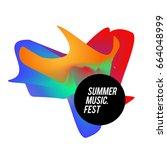 trendy vector summer music... | Shutterstock .eps vector #664048999