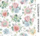 watercolor flowers seamless...   Shutterstock . vector #664050271