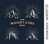 hand drawn mountains. set of... | Shutterstock .eps vector #664053715