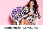 beautiful young brunette woman... | Shutterstock . vector #664053751