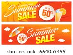 summer sale template banner ... | Shutterstock .eps vector #664059499
