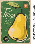 retro fruit poster with pear on ... | Shutterstock .eps vector #664060609