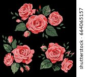 set of beautiful floral...   Shutterstock .eps vector #664065157