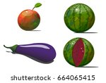 four different fruits and... | Shutterstock .eps vector #664065415
