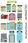town elements. vector flat... | Shutterstock .eps vector #664065781