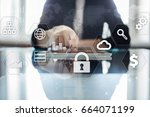 Small photo of Data protection, Cyber security, information safety and encryption. internet technology and business concept. Virtual screen with padlock icons.