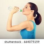 beautiful happy sporty slim... | Shutterstock . vector #664075159