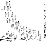 tiny people walking in a queue  ... | Shutterstock .eps vector #664075327