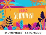 vector illustration in trendy... | Shutterstock .eps vector #664075339