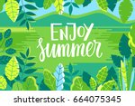vector illustration in trendy... | Shutterstock .eps vector #664075345
