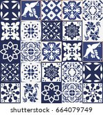 blue portuguese tiles pattern   ... | Shutterstock .eps vector #664079749