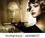Stock photo retro woman portrait in classic interior 66408037