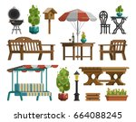 modern garden design furniture... | Shutterstock .eps vector #664088245