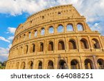 the colosseum or coliseum... | Shutterstock . vector #664088251
