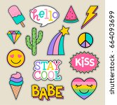 Stock vector set of fashion patches cute pastel badges fun cartoon icons design vector 664093699