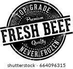 vintage fresh beef meat market... | Shutterstock .eps vector #664096315
