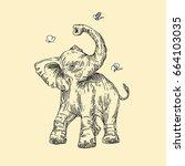baby animals. wild. elephant... | Shutterstock .eps vector #664103035
