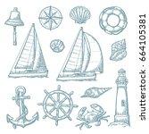set sea adventure. anchor ...   Shutterstock .eps vector #664105381