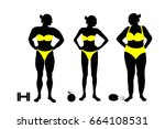 silhouette of a woman fat and... | Shutterstock .eps vector #664108531